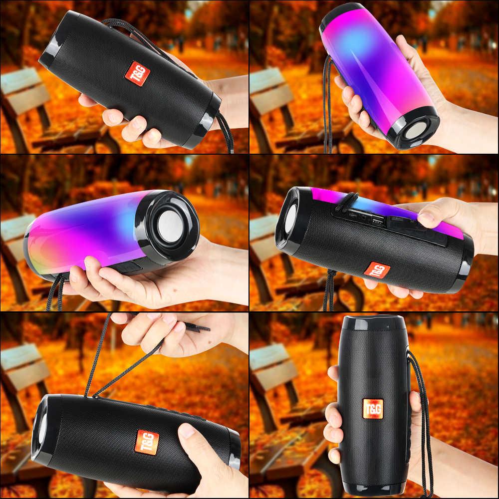 TOPROAD przenośny głośnik bluetooth 10W bezprzewodowa kolumna Stereo Subwoofer LED kolorowe głośniki obsługa karty TF Radio FM USB AUX