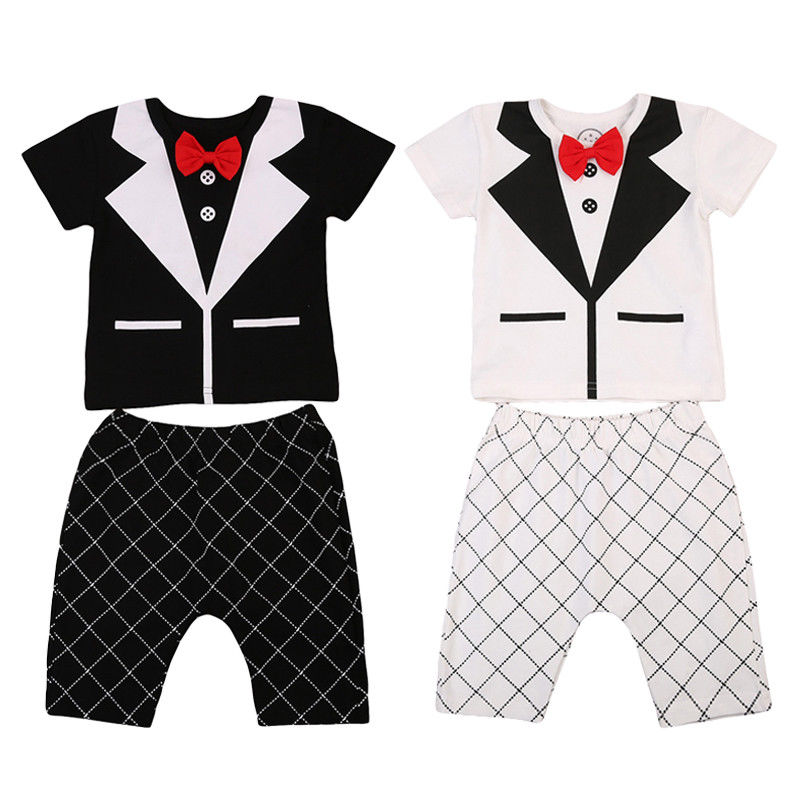 Pudcoco Newborn Baby Boy Wedding Formal Suit Bowtie Gentleman T-shirt 2Pcs Long Sleeve Clothing Sets Outfit 0-24M 2017 nice boy baby infant formal gentleman baby boy clothes button necktie suit romper 0 24m long sleeve baby clothing sets