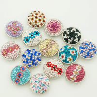 Hot Sale 50pcs Lot High Quality Manual Mixed Colorful 18mm Metal Snap Button Charm Rhinestone Styles
