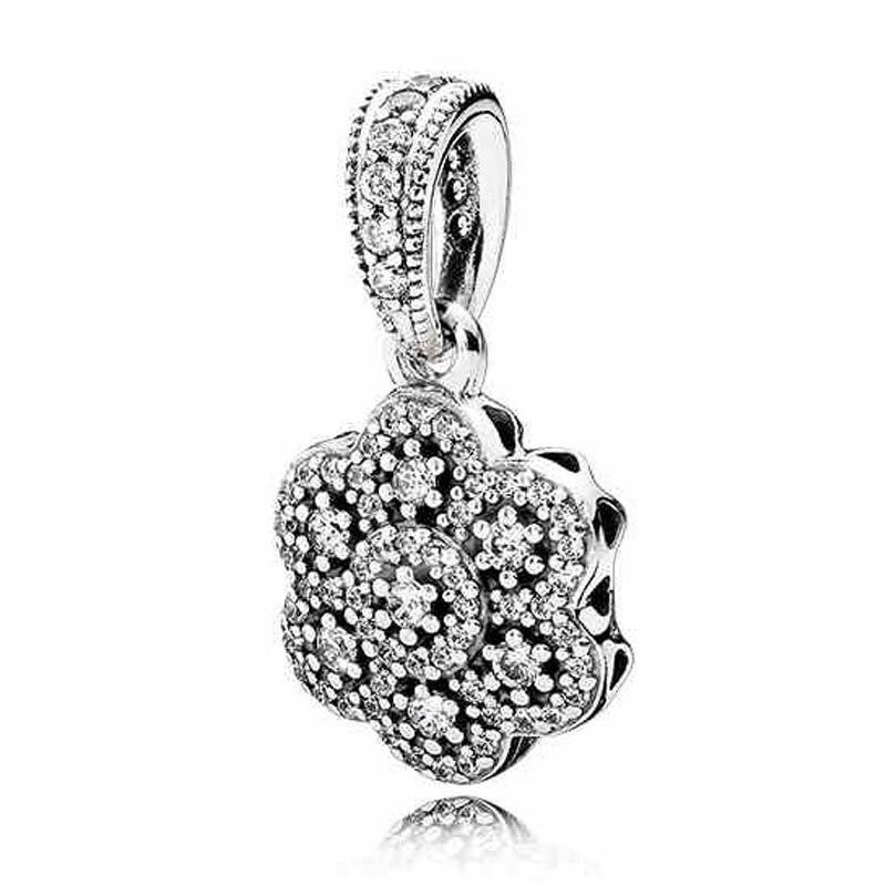 Prix pour Authentique 925 Perles En Argent Sterling Charme Cristallisé Floral Collier Pendentif Perles Fit Pandora Bracelet Diy Bijoux HKA3708