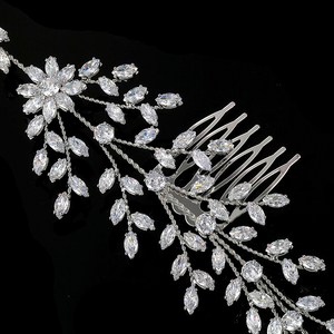 Image 5 - מצנפות וכתרים HADIYANA חדש אופנה כלה שיער אביזרי מקסים יוקרה אלגנטי לנשים זירקון BC4860 Accesorios Mujer