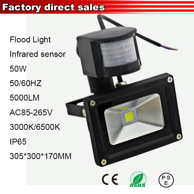 50w Ir Motion Sensor Reflector Led Flood Light Exterior Lighting Outdoor Lamp Focos Spotlight Projector