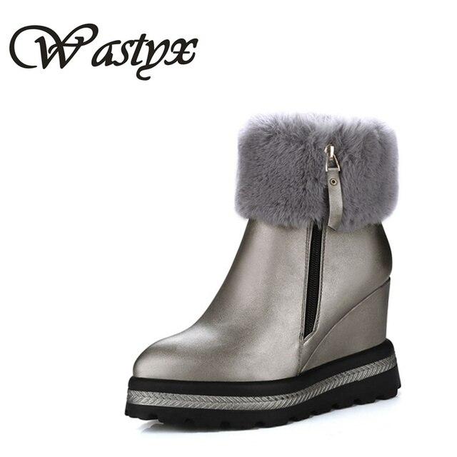 1bb9496553a Wastyx mujeres botas moda Zapatos de tacón alto Mujer plataforma plana  botines invierno calzado caliente del
