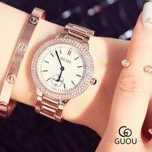 Luxury Brand Women Watch Rhinestone Crystal Blue Hardlex Dial Lady Dress Wristwatch Clock Bracelet Gift to Girlfriend Wife OP001