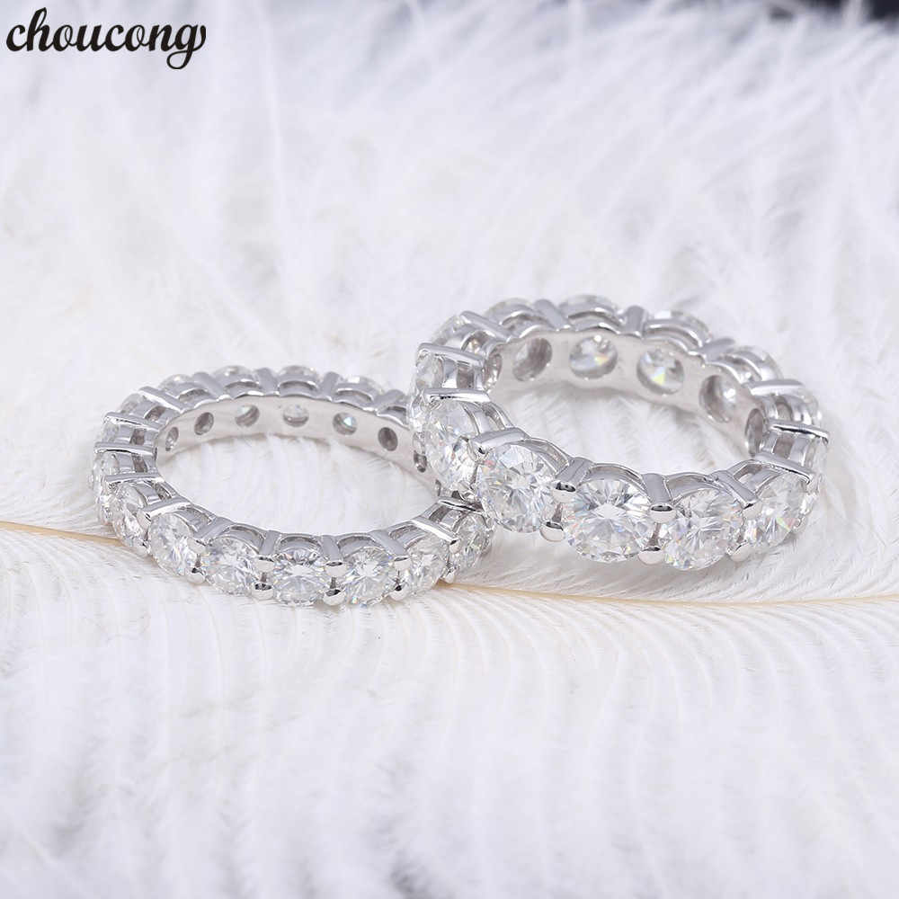 choucong Eternity Promise ring 6MM/4MM AAAAA Zircon Sona Cz 925 Sterling silver Engagement Wedding Band Rings for women Bridal