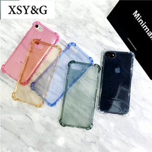 Fashion Shockproof Transparent Phone Cases For iPhone 6 Case iphone 7 6S 8 Plus X Silicone Anti-knock Clear Cover