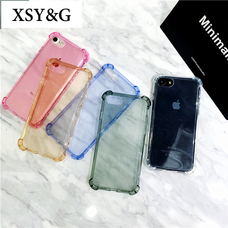 Fashion Shockproof Transparent Phone Cases For iPhone 6 Case For iphone 7 6 6S 8 Plus X Case Silicone Anti-knock Clear Cover