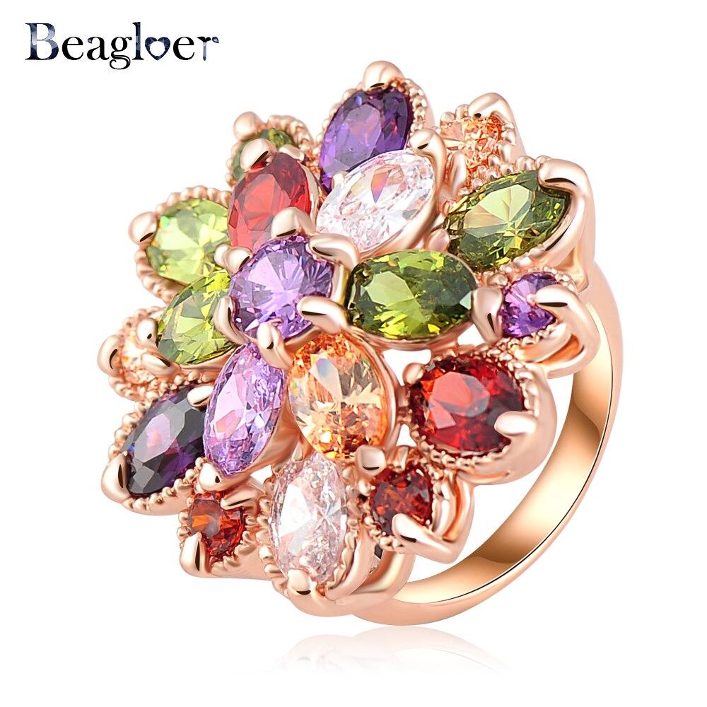 Beagloer Hot Sale Unique Fashion Multicolor Rose Gold Color AAA Zircon Engagement/Wedding bijoux Ring Fine Jewelry Ri-HQ0365-b