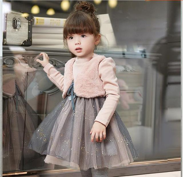 7536d74c9276 Girls children clothing winter dresses clothes child two more small ma3  jia3 net yarn splicing dress baby fashion princess dress