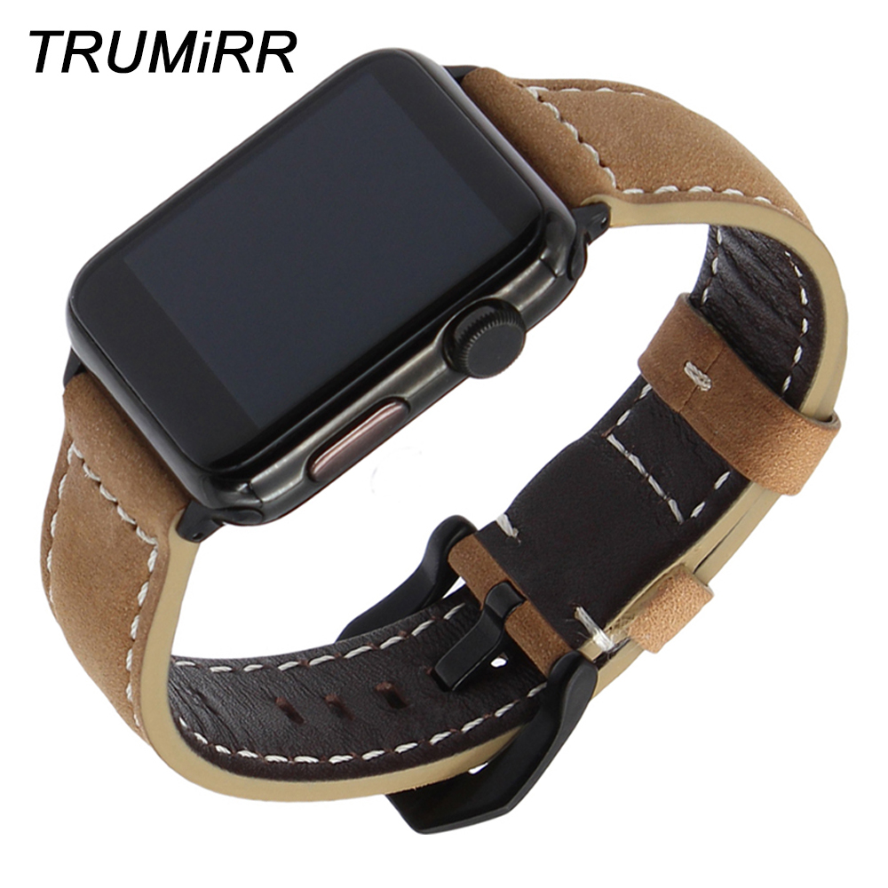 Italy Genuine Leather Watchband for iWatch Apple Watch 38mm 40mm 42mm 44mm Series 1 2 3 4 Wrist Band Stainless Steel Clasp Strap цена