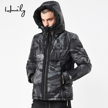 HMILY Winter Jacket Men 2018 Fashion With Hat Male Parka Mens Thick cotton clothes and Coats Man greatcoat