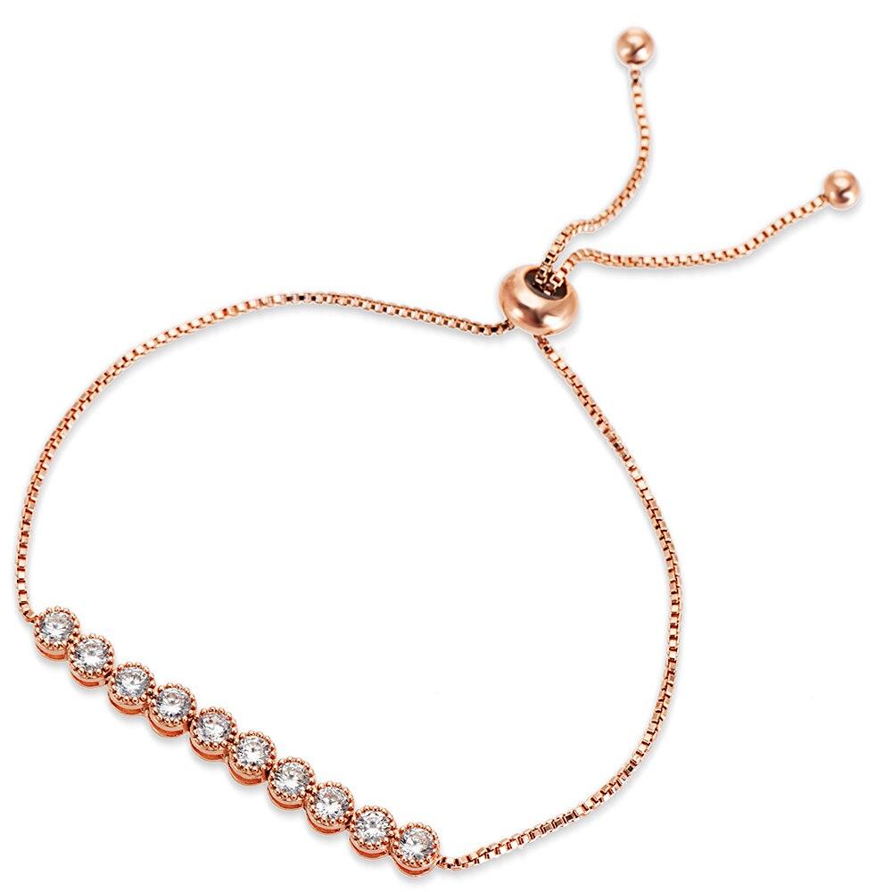 Cake Shape Cubic Zirconia Crystal Adjustable CZ Zircon Bracelets for Women in Rose Gold Color or Silver Colors