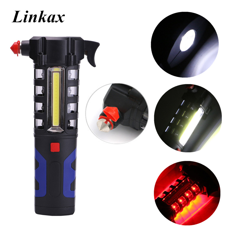 Multipurpose Magnetic LED Flashlight Car Vehicle Safety Escape Rescue Emergency Servival Tool Flashlight Lamp Torch for Outdoor