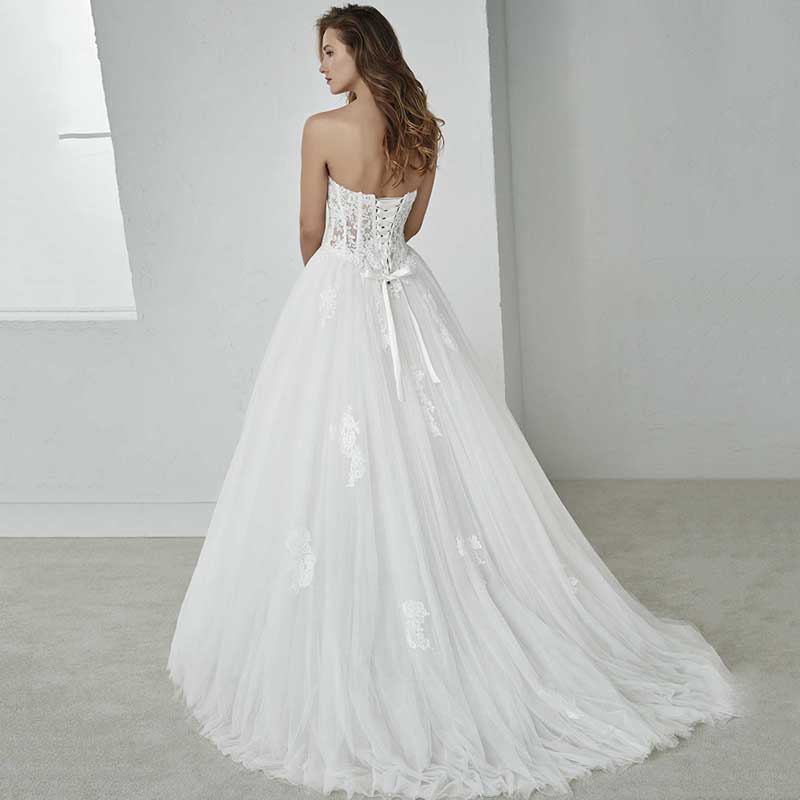 Smileven Sweetheart Wedding Dress Appliqued Strapless Lace Bride Dress 2019 Lace Up Back Wedding Gowns Boho Vestido De Novia in Wedding Dresses from Weddings Events