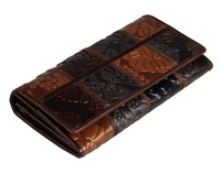 Genuine leather vintage embroidery plaid long purse women card holder
