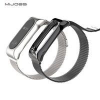 New Mijobs Stainless Steel Milanese Magnetic Loop Strap For Xiaomi Mi Band 2 Replacement Accessories Metal