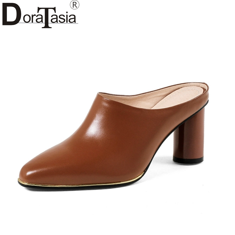 DoraTasia 2018 Summer Brand Cow Leather Women Mules Leather Insole High Heels Pumps Fashion Hot Sale Casual Shoes Woman bonjomarisa summer fashion hot sale women mules bling crystal pumps big size 32 43 mature high wedges heels shoes woman