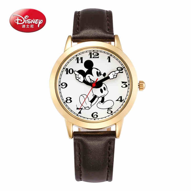 Original Disney brands Girl pretty Mickey mouse cartoon lovely watch Best fashion casual simple quartz round leather watches xr brands spire стимулятор простаты с кольцом для пениса
