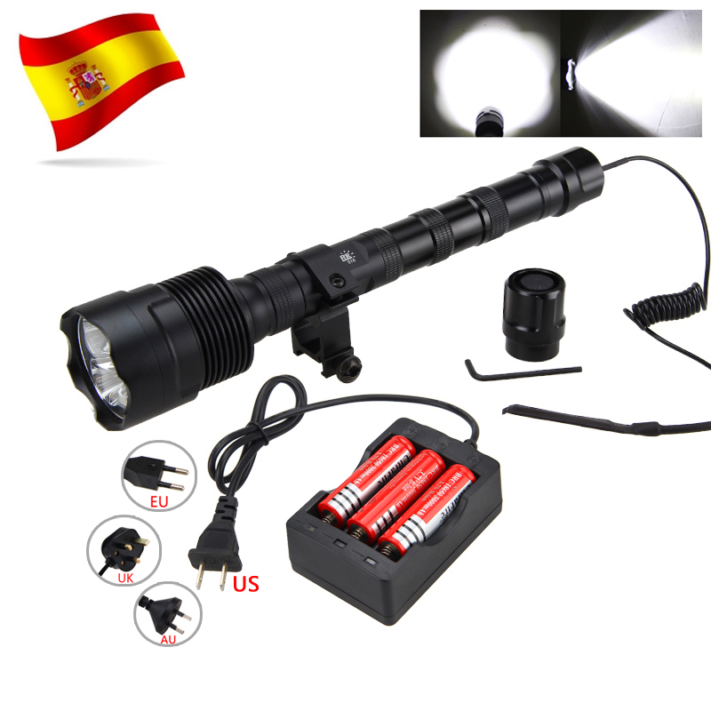Powerful 10000LM Led Hunting Light 3 XM L T6 Tactical Weapon flashlight 3 18650 Remote Pressure