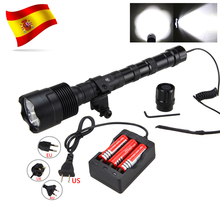 Powerful 10000LM Led Hunting Light 3*XM-L T6 Tactical Weapon flashlight+3*18650+Remote Pressure Switch+Rifle Scope Mount+Charger 2 sets 5000 lumens white xml q5 tactical hunting flashlight hunting weapon light lanterna rifle scope mount rail 18650 charger
