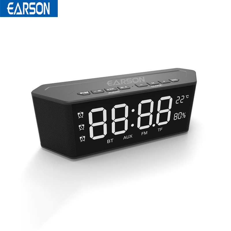 EARSON ER910 LED Alarm Clock Bluetooth Speaker Humidity and Temperature Play Radio TF Home Speaker with Mic 2200mah Subwoofer цена