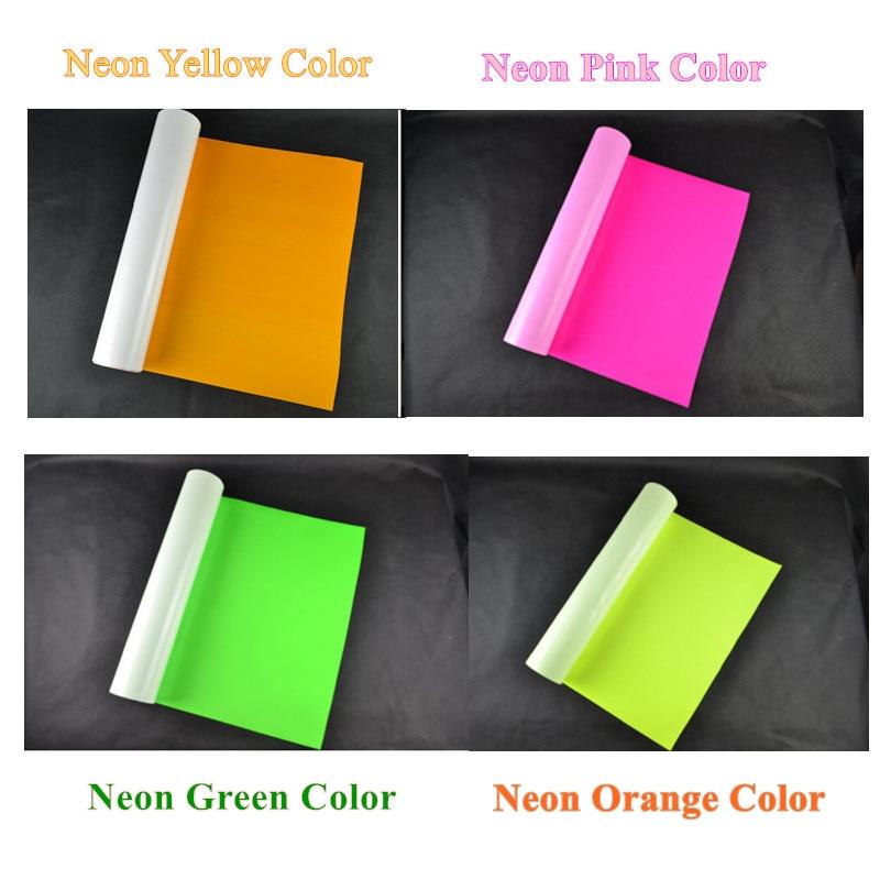 PU Flex Vinyl Paper Neon Pink/orange/yellow/green 2pcs/color PU Heat Transfer Vinyl Cuttable PU Film For T-shirts