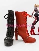 Newest Custom Made American Movie Black And Red Batman Arkham Asylum Harley Quinn Cosplay Shoes Long