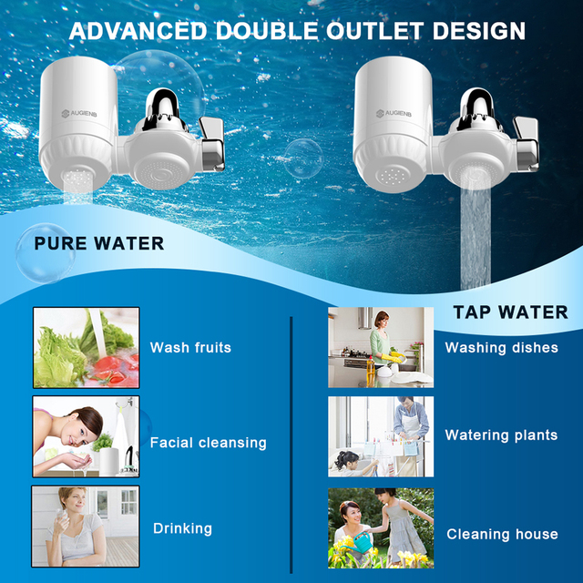 AUGIENB Kitchen Tap Faucet Water Filter Purifier  - Activated Carbon Ceramic Cartridge - Reduce chlorine, odor, Contaminants  1