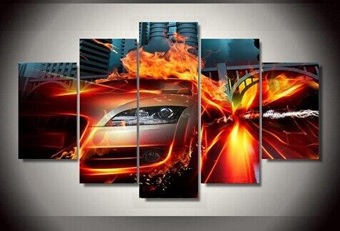 5 panel enmarcado impreso coches rápidos pintura sobre lienzo ...