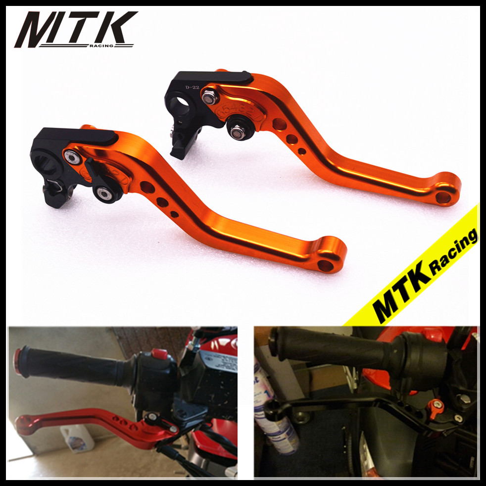 MTKRACING Orange CNC Aluminum Brake Clutch Levers Short Adjustable for KTM 1190 Adventure 13-16 Super Adventure 1290 15-16