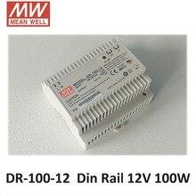 Блок питания 12в Подлинная Meanwell DR-100-12 AC/DC Один Выход 100 Вт 12 В 7.5A Промышленные Din-рейку Питания 12 В импульсный источник Питания Драйвера