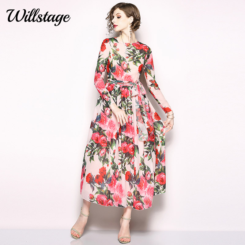 Willstage Red Floral Long Maxi Chiffon Dress printing chiffon dress Women Elegant long sleeve waist lace up Vestidos 2019 Summer floral chiffon dress long sleeve