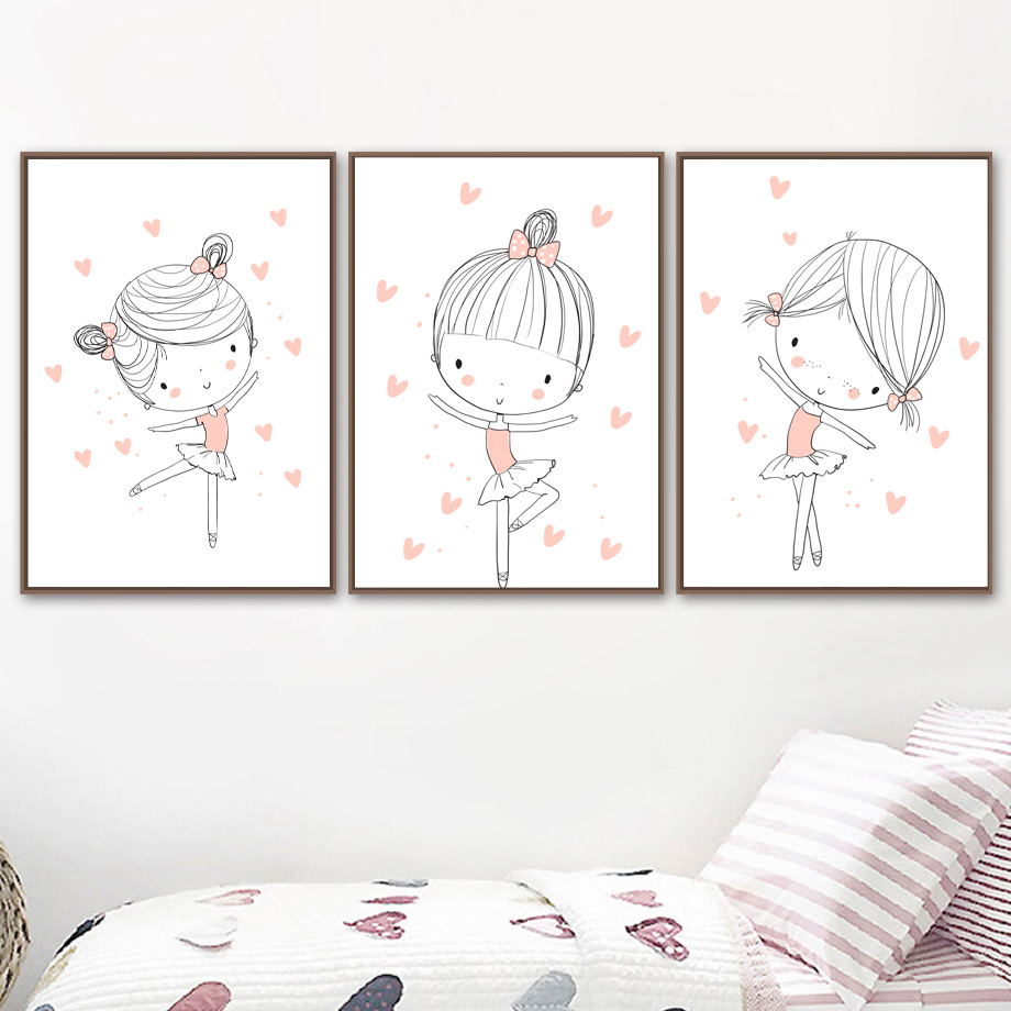 Little Dancer Ballerina Ballet Pink Pumps Girl Print Kids Room Wall Art Picture