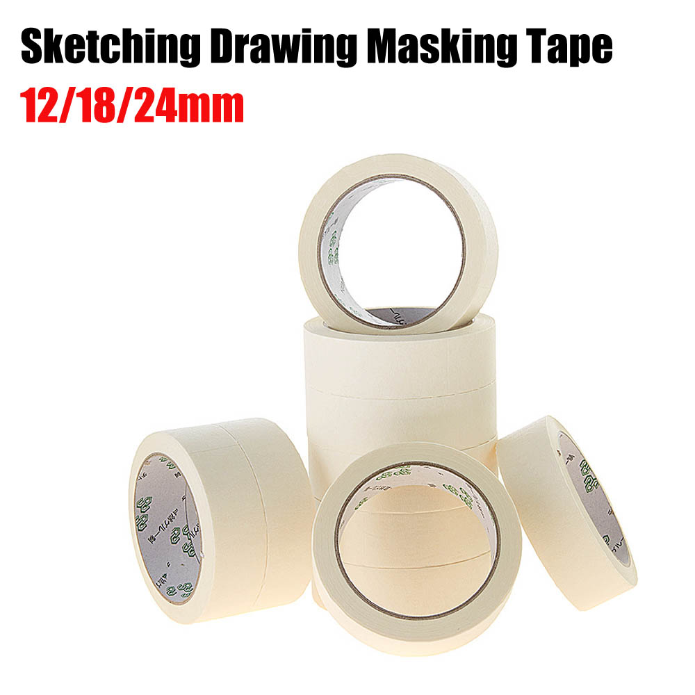 Masking Tape White Color 12/18/24mm Single Side Tape Adhesive Crepe Paper for Oil Painting Sketch Drawing Supplies Wholesale 1