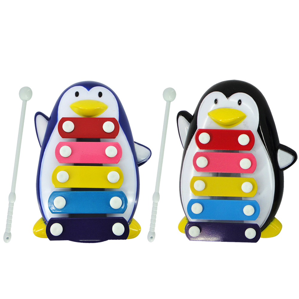 Baby Plastic Cartoon Penguin Musical Educational Knocking Music Instrument Toy with Knocking Stick for Over 6 Months Babies