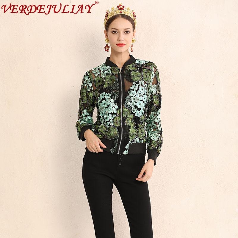 High Armée Green Maille Court 2019 Automne Spéciale Offre Perles 3d Manteau Luxe Army De Appliques Vestes Mode Femmes Angleterre Vert Style Top Street ZqrpZ