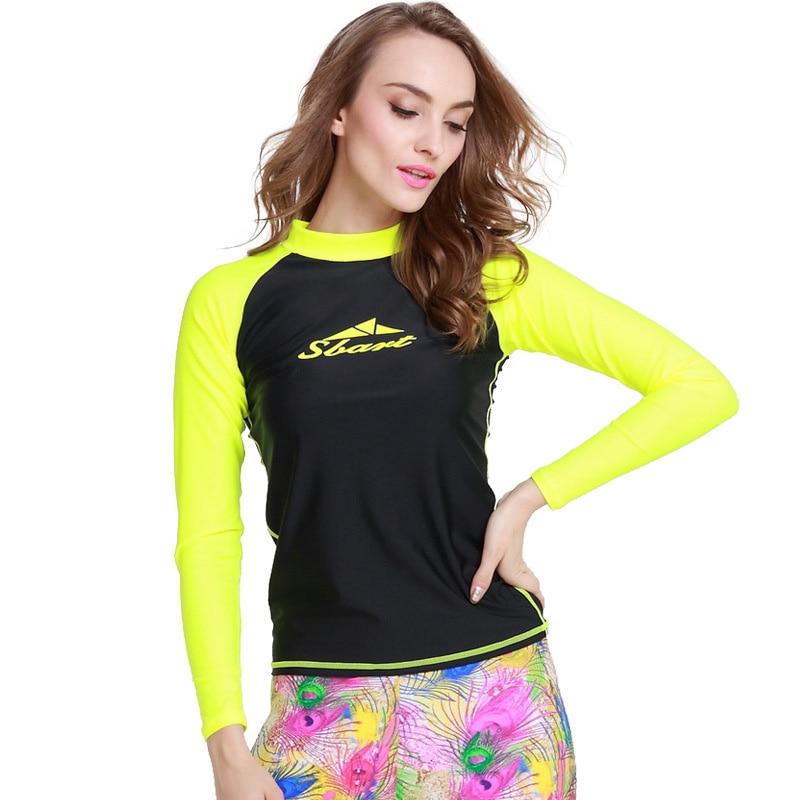 2022d867eb Women's UPF 50+ Sun Protection Rashguard Yellow Black Beach Suit Snorkeling  Top Surfing Shirt