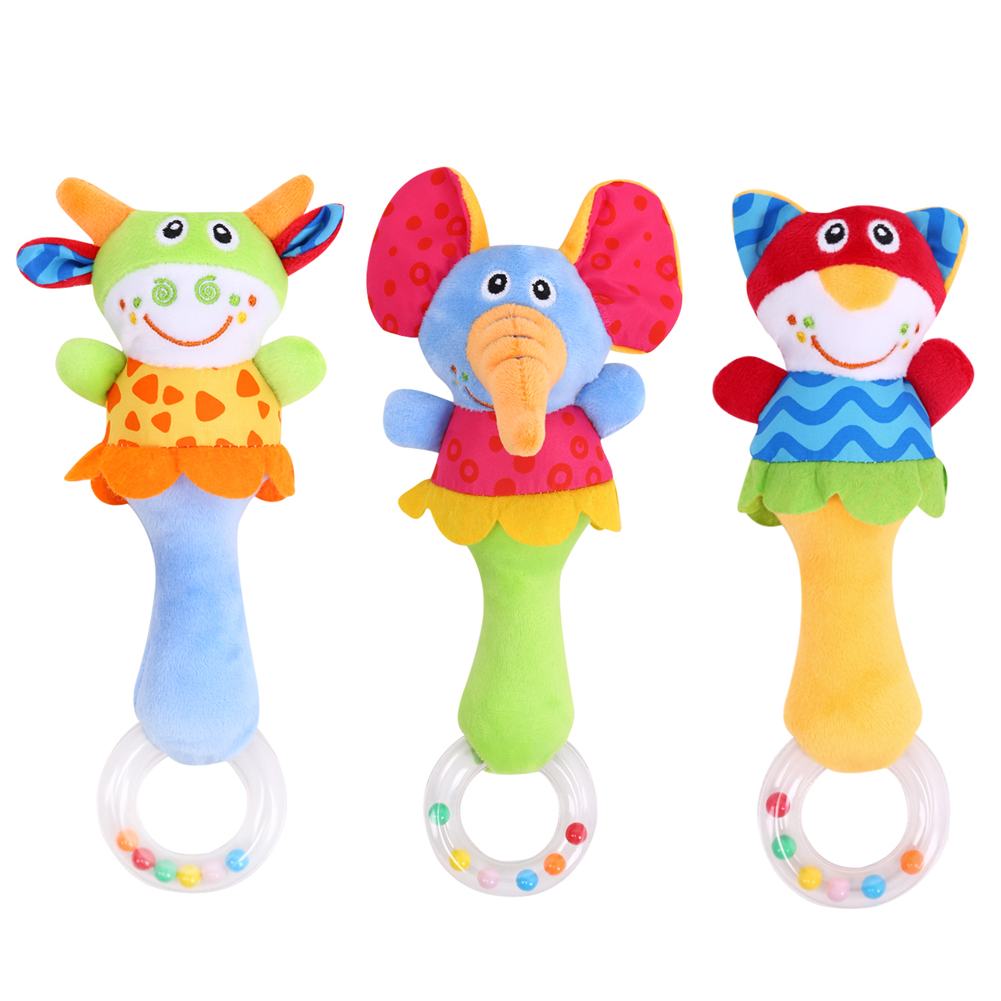 3 Designs Soft Toys Animal Model Handbells Rattles Zoo Squeeze Me Rattle Cute Gift Baby Musical Developmental Toy For Childrens