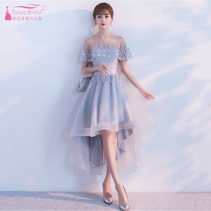 High Low New   Bridesmaid     Dresses   With Wrap Fashion Short Front Long Back new years eve   dress   wedding guest   dress   JQ49
