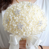 100% Handmade Elegant Pearls Patchwork Wedding Decorative Flowers Bouquet For Brides Bridal Wedding Bouquets Accessories S 25