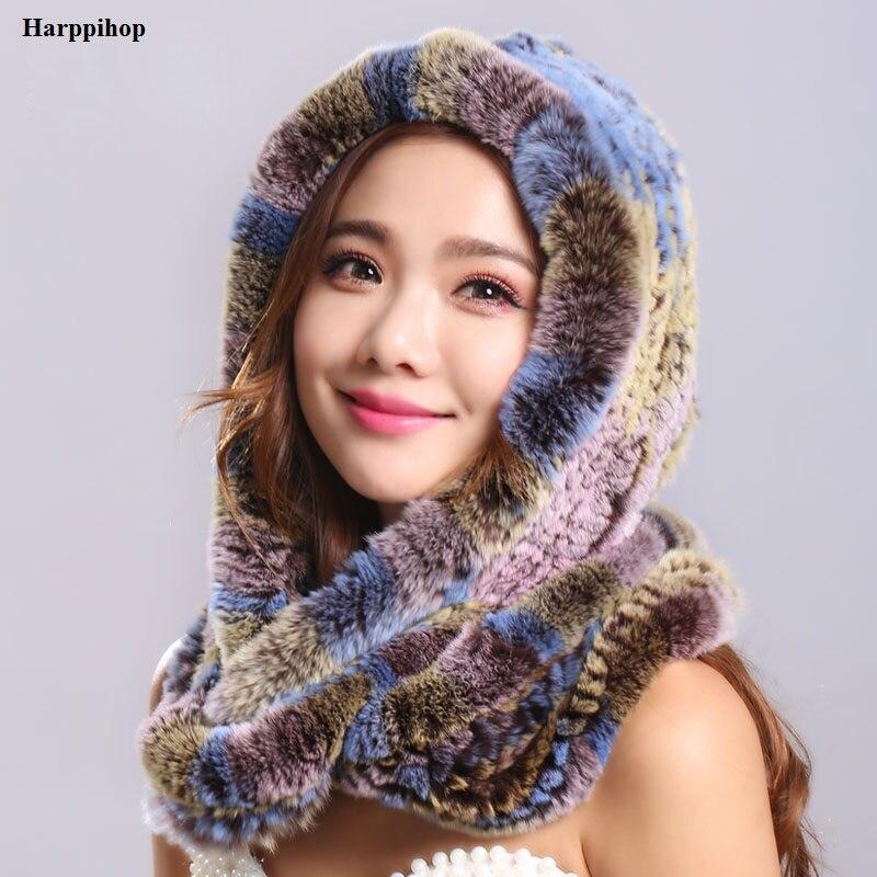 Толстые на осень-зиму теплые с натуральным кроличьим мехом шарф и шапка Для женщин с капюшоном с мехом кролика шарф меховая шапка pashimina