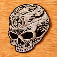 DIY Iron On Patches Clothes Punk Skull Patch Embroidered For Clothing Embroidery Biker Badges
