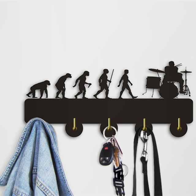1Piece Modern Coat Hooks Geek Evolution Drummer Decorative Hanger ...