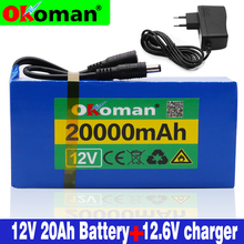 High Quality Super Rechargeable Portable 12v 20Ah Lithium ion Battery pack DC 12.6V 20000mAh battery With US EU Plug