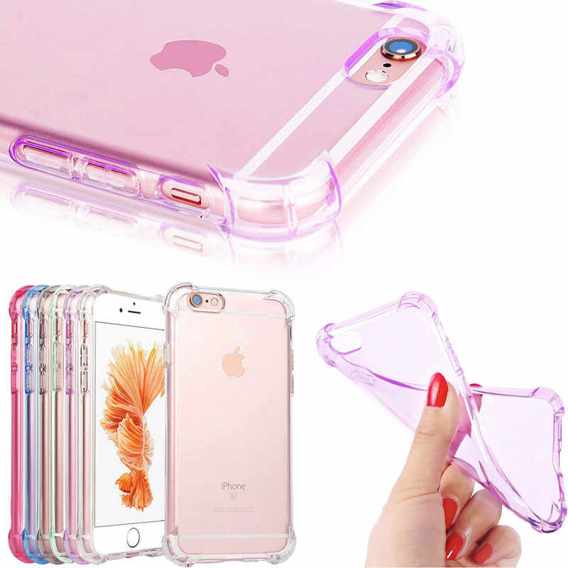 Voor iPhone 6 6 s Case Anti Klop Siliconen Transparante Tpu Shockproof Case Voor iPhone X 6 6 s 7 8 Plus 5 s 5 SE Cover Case