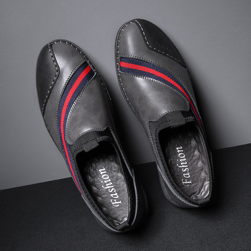 Zanvllchy Genuine Leather Casual Shoes Men 2018 Fashion Luxury Leather Flat Shoes  Mens Loafers Stripe Design 8600201c4ef6
