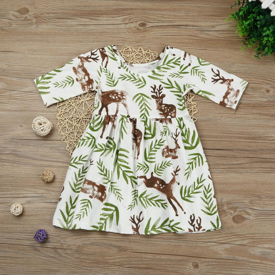 Girl Dress Toddler Kids Baby Girl Short Sleeve Floral Deer Princess Pageant Holiday Dresses F9 lovely toddler kids baby girl summer dress bunny ear short sleeve hooded outfit one pieces princess children dresses sundress