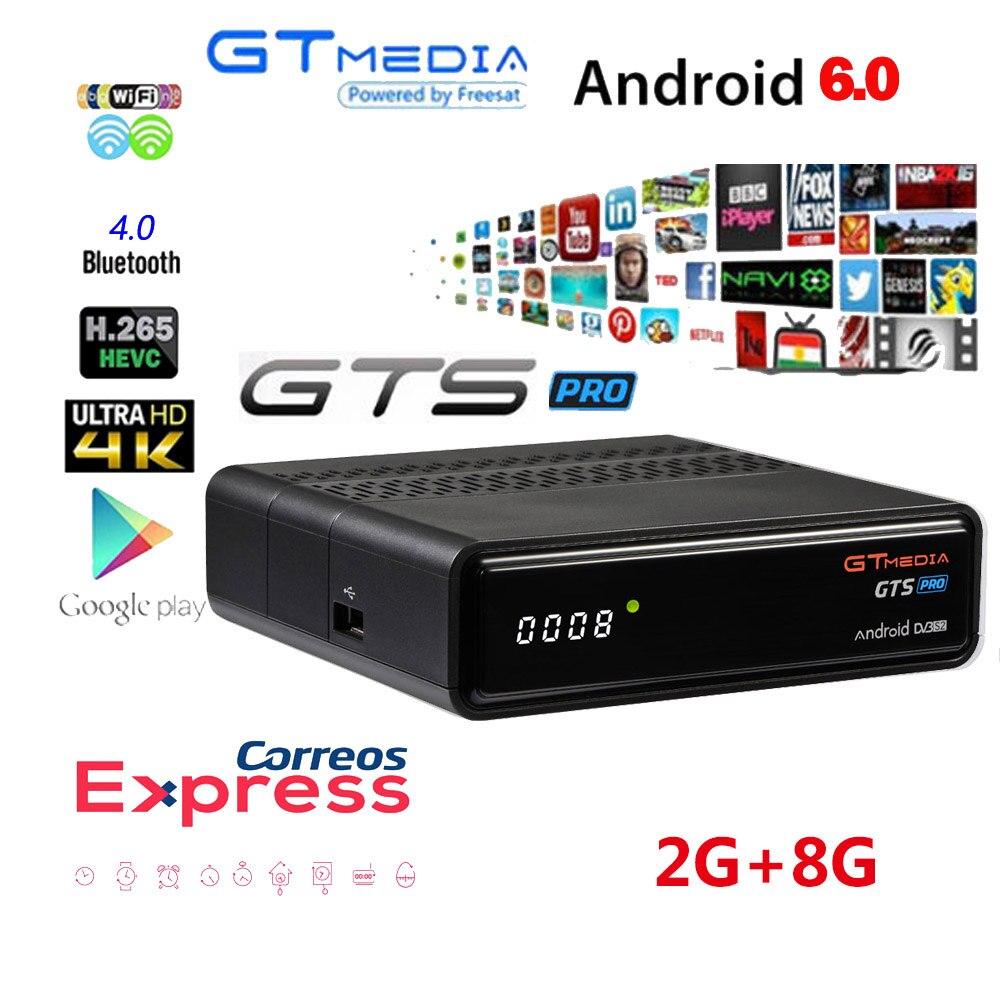 Iptv cccam Receptor Freesat Pro GTS DVB-S2 S905D android 6.0 CAIXA de TV Amlogic 2GB GB + 1 8 Ano caixa de TV cccam Receptor de Satélite TV