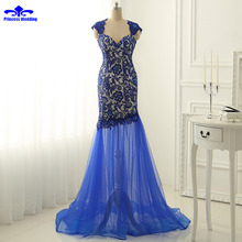 Real Picture Evening Dresses Long 2017  Royalblue Dress Formal Lace Mermaid Evening Gowns Women tulle Prom Party Dresses