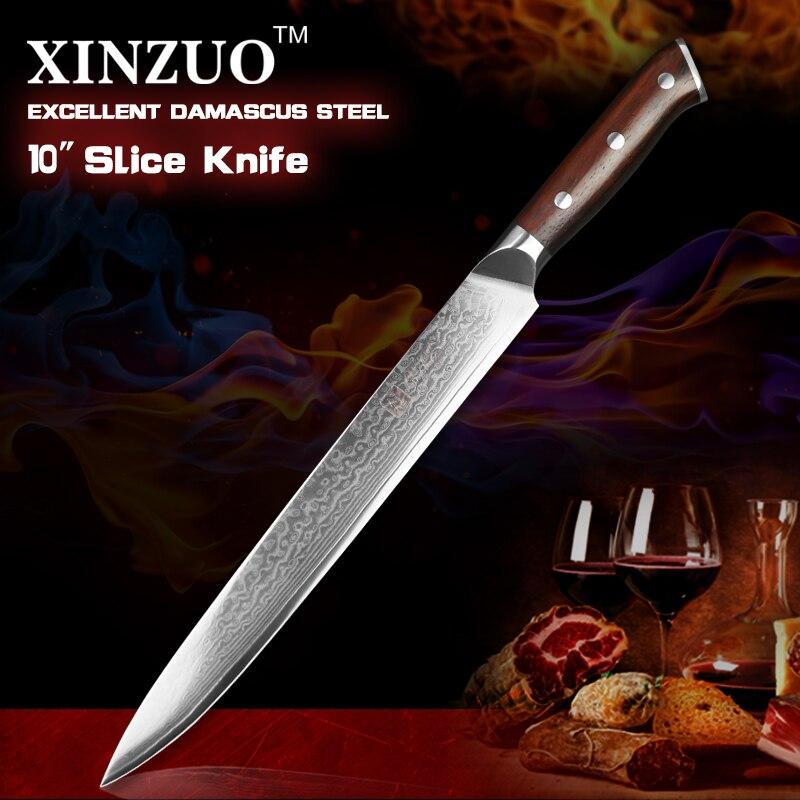 XINZUO 10 inch slicing knife Damascus steel cleaver knife ebony wood handle professional chef knife sashimi